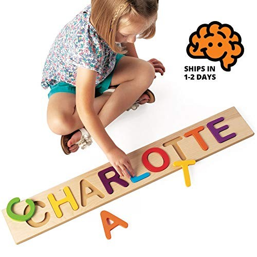 Fat Brain Toys Wooden Personalized Name Puzzle – Flat Rate up to 9 Letters Early Learning for Babies