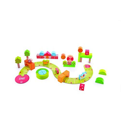 Hape Sunny Valley Play Blocks 53 Piece Wooden Set Colorful Toy for Kids 12 Months+