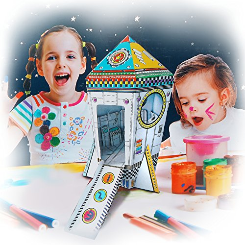 My Mini Rocket Ship Cardboard Playhouse for Kids to Color Create your Own Indoor Fort Life Size Foldable Easy Storage by Spiritoy