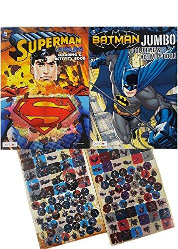 Batman vs Superman Coloring and Activity Books Set – 2 Jumbo Over 270 Stickers