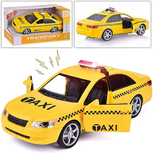 Liberty Imports Friction Powered Yellow Taxi Cab Toy Car Vehicle with Lights and Sounds