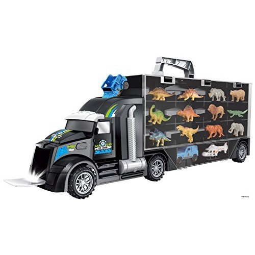 Memtes Dinosaur and Wild Life Animal Safari Car Carrier Transport Truck Toy (Includes 6