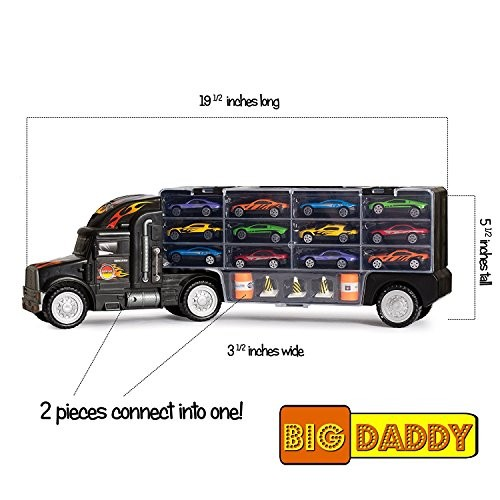 Big Daddy Tractor Trailer Car Collection Case Carrier Transport Toy Truck for Kids Includes
