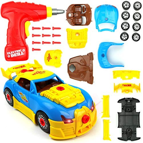 Big Mo's Toys 661-184 Build Your Own Race Car – STEM Toy Racing for Kids Gift Yellow