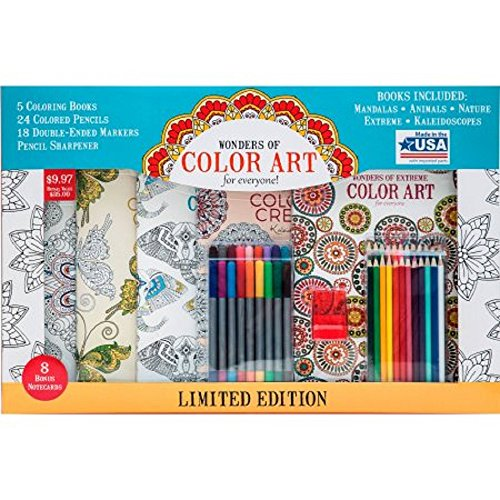 Wonders of Color Art Coloring Pack – Kit Includes 5 Beautiful Books 24 Colored Pencils 18 Double Ended Markers a Pencil Sharpener and 8 Delightful Notecards