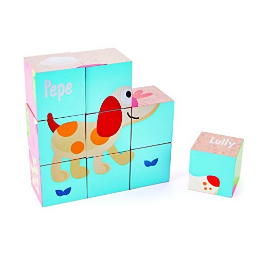 Hape Friendship Puzzle Blocks 6-in-1 3D Animal Printed Wooden Jigsaw Cube Building Blocks for Toddlers