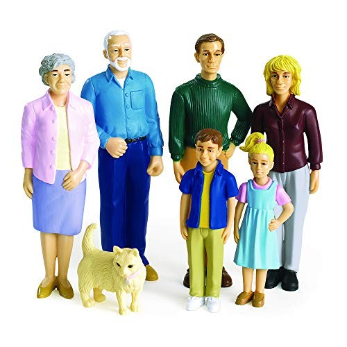 Excellerations Educational Multicultural Pretend Play Figurine Family Caucasian Dolls Set of 7 (Item #