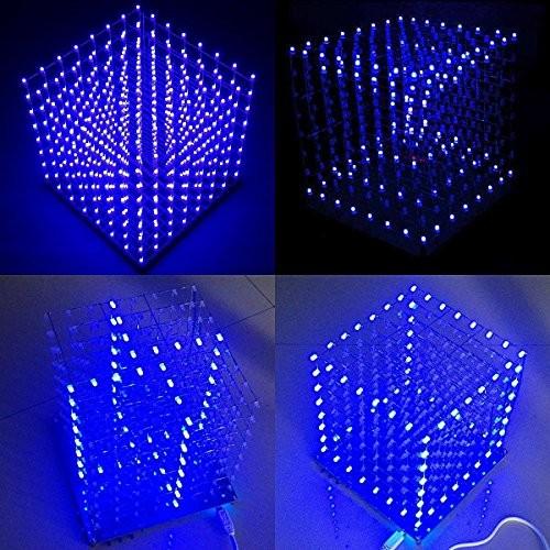 8x8x8 Led Cube kit Blue Microcontroller by HYGO FIVE