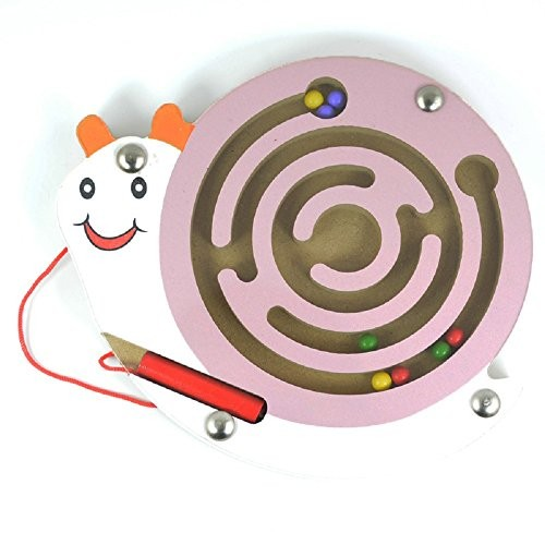 Elloapic Mini Round Wooden Maze Puzzle Interactive Pen Driving Beads on Board Game Eduactional Handcraft Toys Pink Snail
