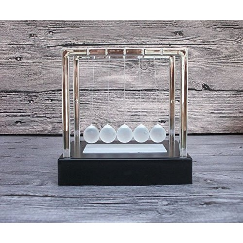 MissAJ Light Up Newtons Cradle Steel Balance Ball Kinetic Energy Multi Color Home Office Science Toy Household Decoration Art Work Gift