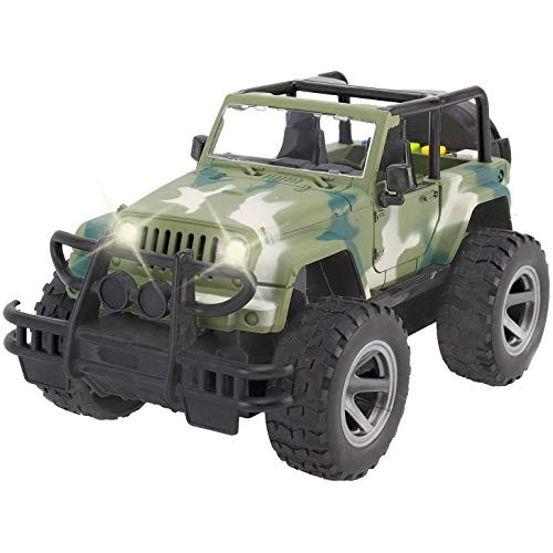 Liberty Imports Off-Road Friction Powered Military Armored Toy Car – Realistic Wrangler Kids Vehicle