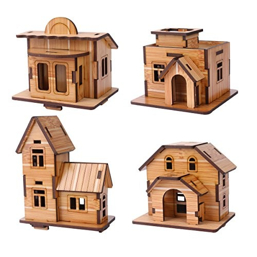 3D Wooden Puzzle Mini DIY Model House Kit Educational Toys Jigsaw Puzzles Gift for Children and Adult