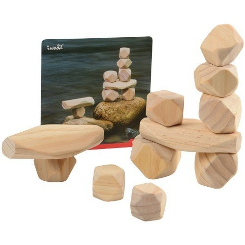 Constructive Playthings 11 pc Lightweight Natural Wooden Balancing Blocks with Idea Cards; Largest Block Measures 4 3 4 L x 2 1 2 W for Ages 12 Months and Up