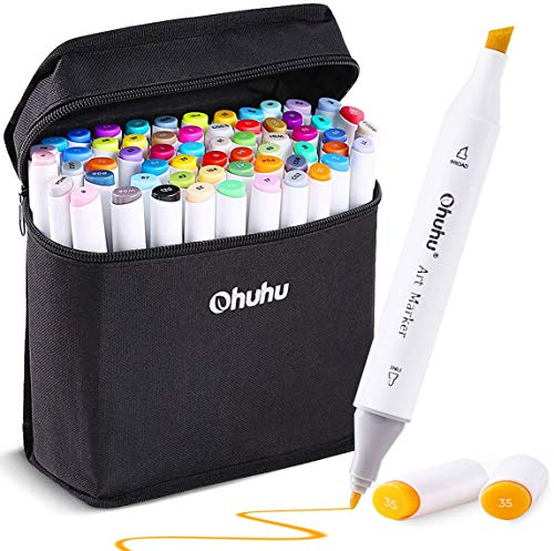 60 Colors Alcohol Art Markers Ohuhu Double Tipped Coloring Marker for Kids Fine and Chisel Tip Dual Based Drawing Sketch Adult Book BONUS A Colorless Blender