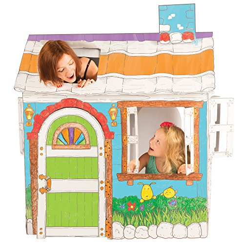 Cardboard Playhouse for Kids to Color – Create an Easy Play House with Included Markers and Over 50 Sticker Decorations