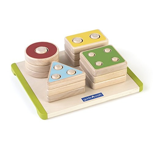 Guidecraft Sort and Stack Shapes Wooden with Matching Dowels – Educational Learning Toys for Kids