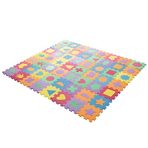 Interlocking Foam Tile Play Mat with Shapes – Nontoxic Children's Multicolor Puzzle Tiles for Playrooms Nurseries Gyms and More