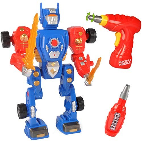 Liberty Imports Kids Take Apart Toys – Build Your Own Space Robot Transform Toy Construction Playset Realistic Sounds and Lights with Tools Power Drill Space Robot