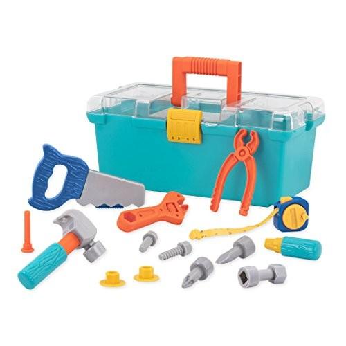 Battat Builder Tool Box Durable Kids Set Pretend Play Construction Kit For 3 Years+ 15-Pcs