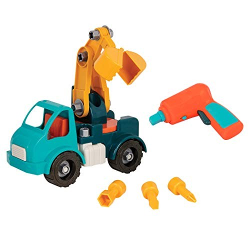 Battat – Take-Apart Crane Toy Truck with Drill Building Toys for Kids 3 years + 34-Pcs Dark Blue BT2514Z