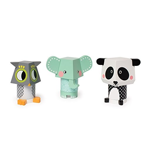Manhattan Toy Mix & Match Owl Elephant Panda Magnetic Wooden Stacking Block Set Baby