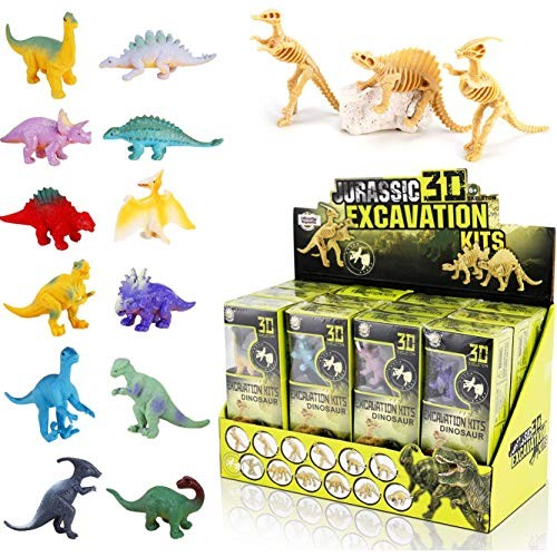 Liberty Imports Dig a Dozen Dinosaurs Assortment Skeleton 3D Dino Fossil Excavation Science Kits for STEM Learning Kids Activity Party Favors Set of 12