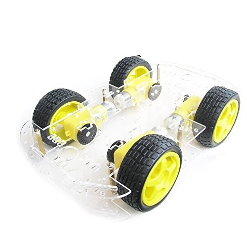 EMOZNY 4 Wheel 2 Layer Robot Smart Car Chassis Kits with Speed Encoder for Arduino DIY Yellow