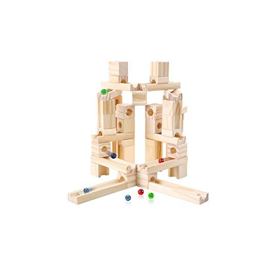 Marble Run Toys 60 Pieces Wooden Classic Ramps Track Building Construction Set for Children Toddler