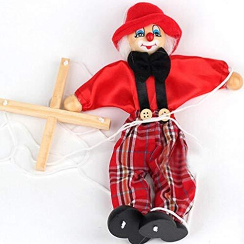SPARIK ENJOY Clown Hand Marionette Puppet Children's Wooden Toys Colorful Doll Parent-Child Interactive Toys- Red