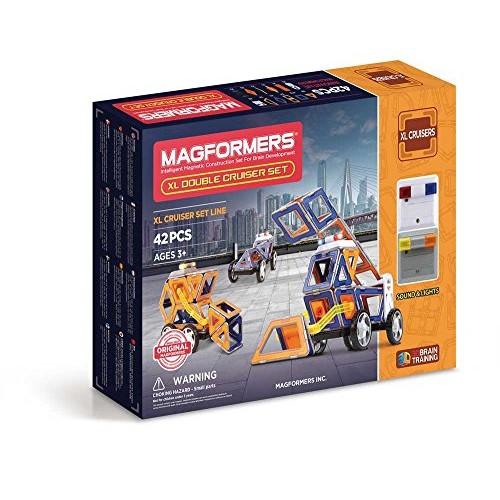 Magformers xL Double Cruiser 42 Piece Set Magnetic Building Blocks Educational Tiles Kit Construction STEM Toy