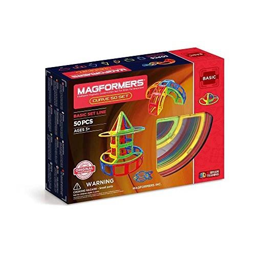Magformers Curve 50 Pieces Rainbow Colors Educational Magnetic Geometric Shapes Tiles Building STEM Toy Set Ages 3+