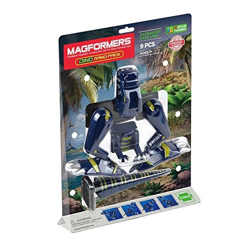 Magformers Rano Accessory 9 Piece Pack Magnetic Building Blocks Educational Tiles Kit Construction STEM Dinosaur Animal Toy Set