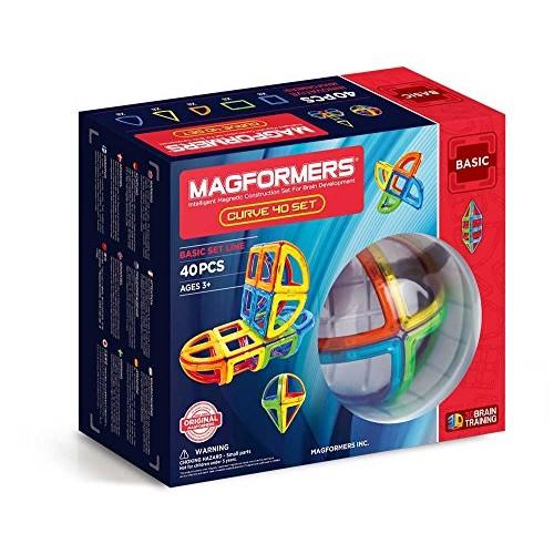 Magformers Curve 40 Piece Set Magnetic Building Blocks Educational Tiles Kit Construction STEM Toy