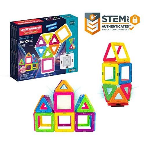 Magformers Neon 26 Piece + Bonus Light Magnetic Building Blocks Educational Tiles Kit Construction STEM Toy Set