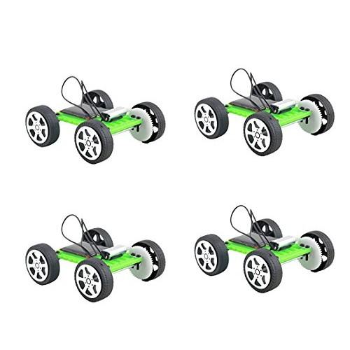 Fashionclubs 4pcs set Children DIY Assemble Solar Power Car Toy Kit Science Educational Gadget Hobby
