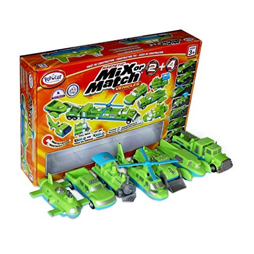 Popular Playthings Mix or Match Vehicles 2 & 4 Giant Combo Magnetic Toy Play Set Air Land and Sea