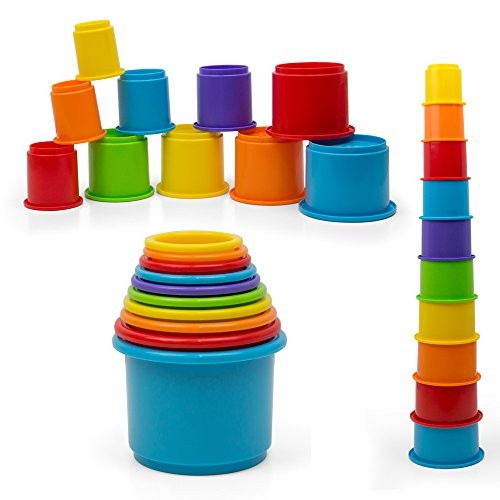 Kidsthrill Baby Stacking Cups Toy – Stackable 10 pc Rainbow Nesting Block Set