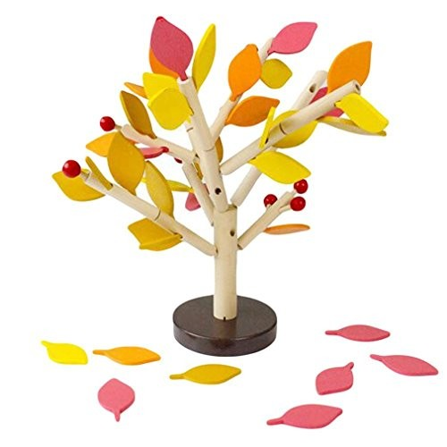 DIY Building Kits – Inserting Leaves 3D Tree Blocks Wooden Set Kids Early Educational Toy for Girls and Boys