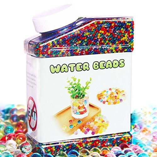 Elongdi Water Beads Pack Rainbow Mix Over 50000 Growing Balls Jelly Gel for Spa Refill Kids Sensory Toys Vases Plant Wedding and Home Decor