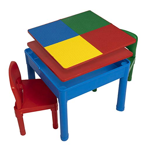 Play Platoon Kids Activity Table Set – 5 in 1 Water Building Block Craft and Sensory with Storage Includes 2 Chairs 25 Ex-Large Blocks Primary Colors