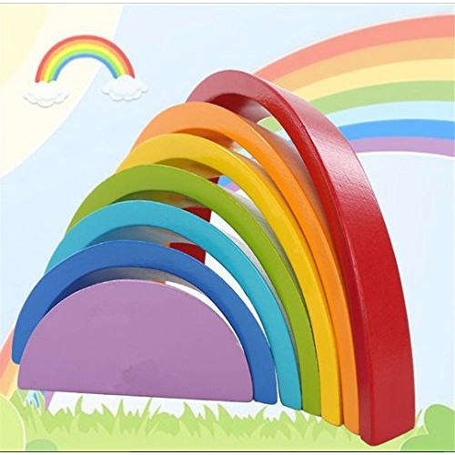URToys Colorful Wood Rainbow Building Blocks Toys Wooden Circle Set Baby Colour Sort Play Game Toy Kids Christmas gift