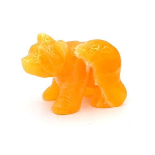 Warm Orange Stone Bear Figure 35 Long Carved from Real North American Calcite – The Artisan Mined Series by hBAR