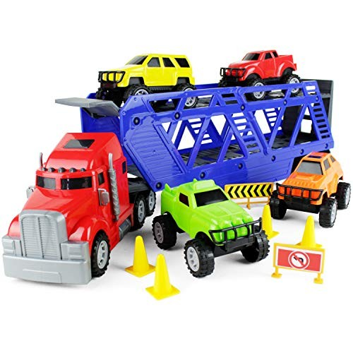 Boley 5-in-1 Big Rig Hauler Truck Carrier Toy Complete Trailer with Construction Toy Signs
