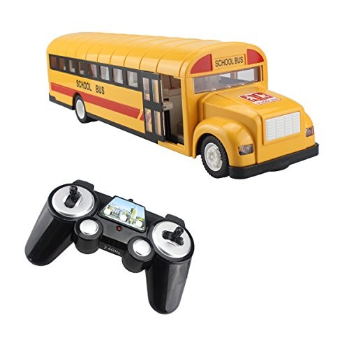 fisca RC School Bus Remote Control Car Vehicles 6 Ch 24G Opening Doors Acceleration