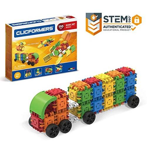 Clicformers Basic Set 110 Piece Educational Building Blocks Kit Construction STEM Toy Creative Bricks
