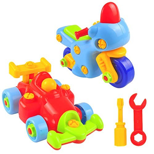 Take Apart Toy Car Activity Set for Boys and Girls with Screwdriver Tools Stem Educational 2 Building Pull F1 Race Motorcycle Toddlers Kids 50 Pieces Kit Best Children 3+