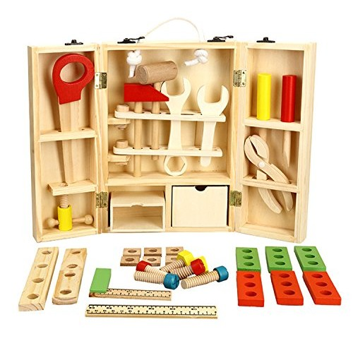 Lewo Wooden Tool Toys Pretend Play Toolbox Accessories Set Educational Construction for Kids
