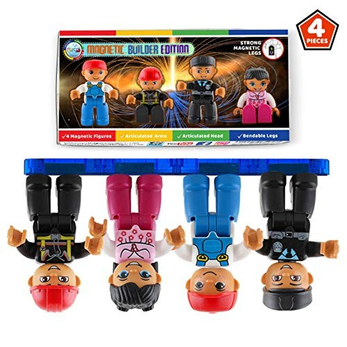 Magnetic Figures Set of 4 Toddlers Community Action Toy People Tiles Expansion Pack for Boys and Girls Nurse Builder Fireman Police Educational STEM Toys Add on Sets Block