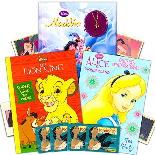 Disney Classic Coloring Book Super Set — 3 Books with Stickers Aladdin Lion King Alice in Wonderland