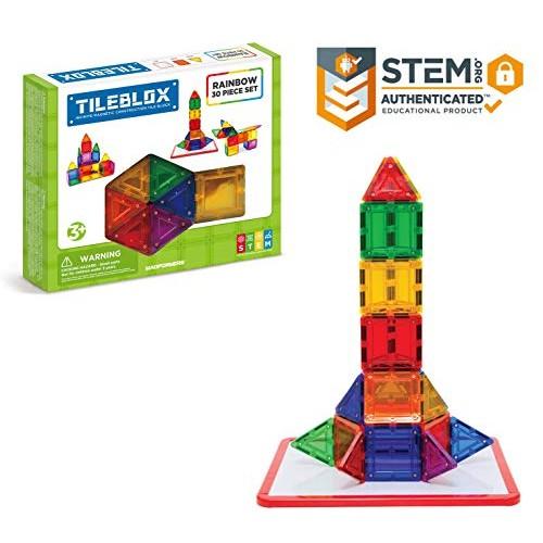 Tileblox Rainbow 30 pieces with Magnetic Activity Board Building Blocks Educational Tiles Kit Construction STEM Toy Set
